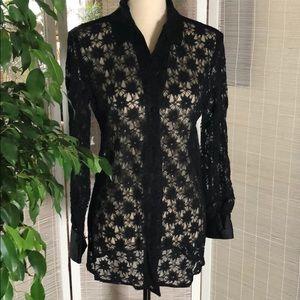 Beautiful lacy blouse w  silk collar
